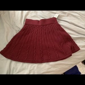 Maroon cable knit skater skirt